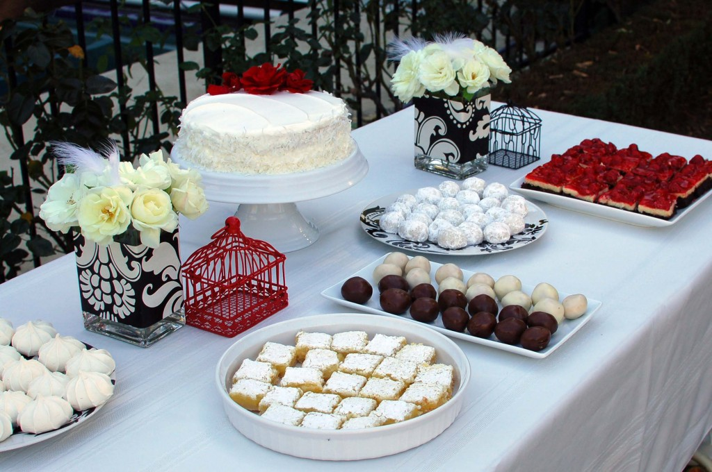 For a black white and red wedding shower I used white roses