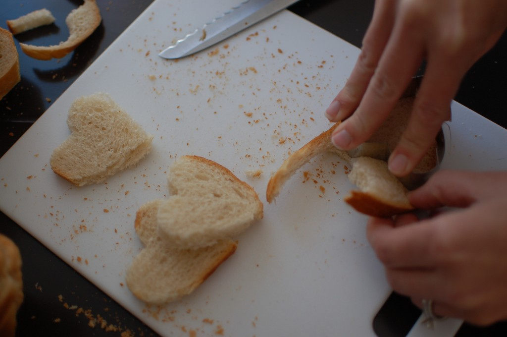 Cutting bread into hearts