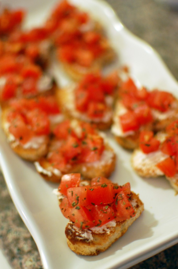 Heart-shaped bruschetta