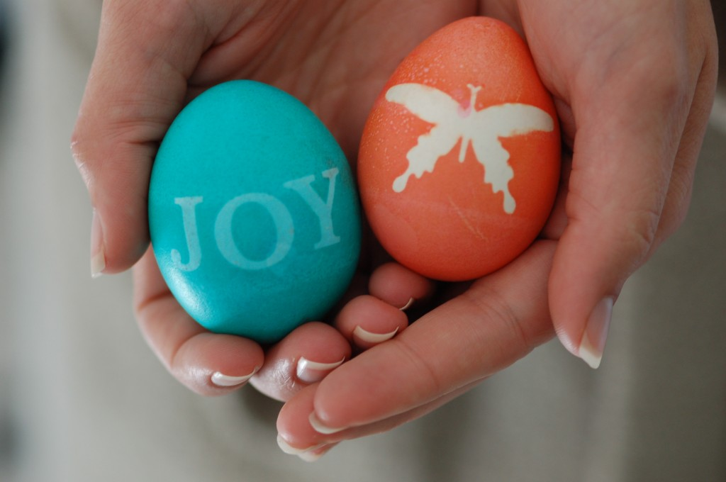 Sticker Dyed Easter Eggs Silhouettes From Stickers
