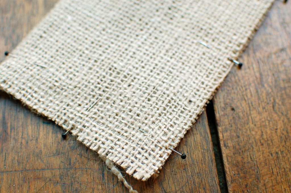 Stitch burlap pieces together
