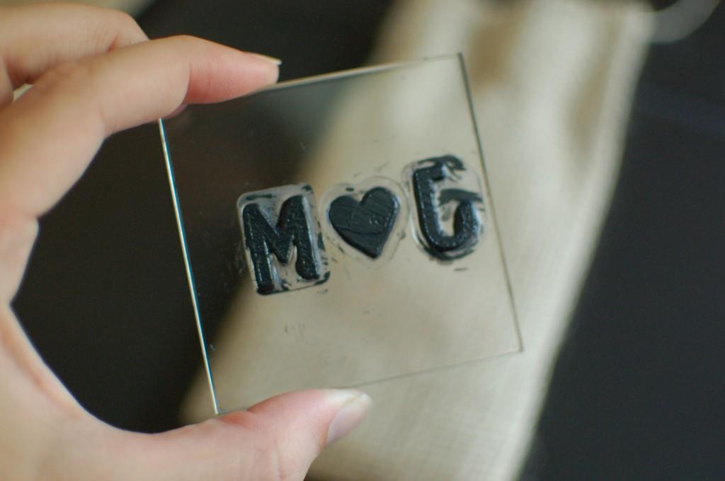 J <3 M stamp inked
