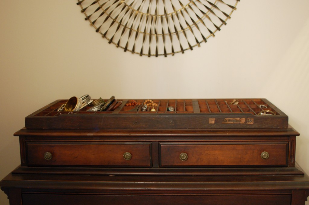 Type tray on top of dresser