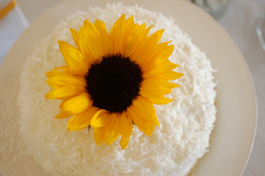 Coconut cake with a sunflower