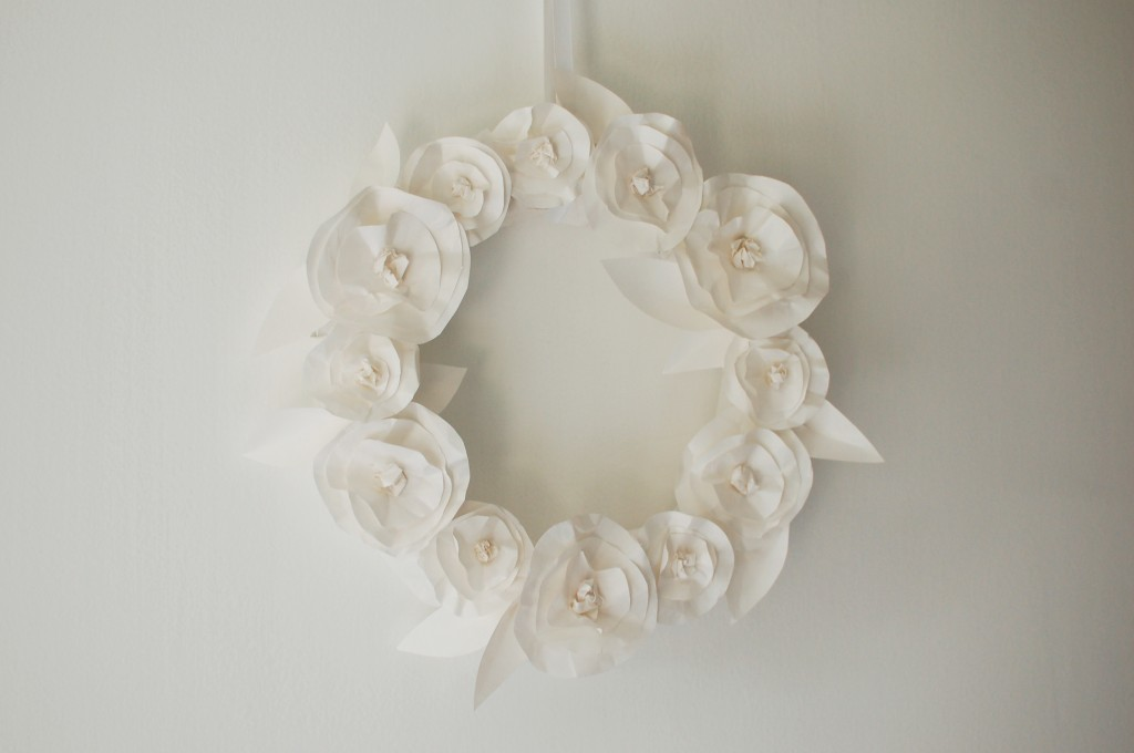 Wreath of paper flowers