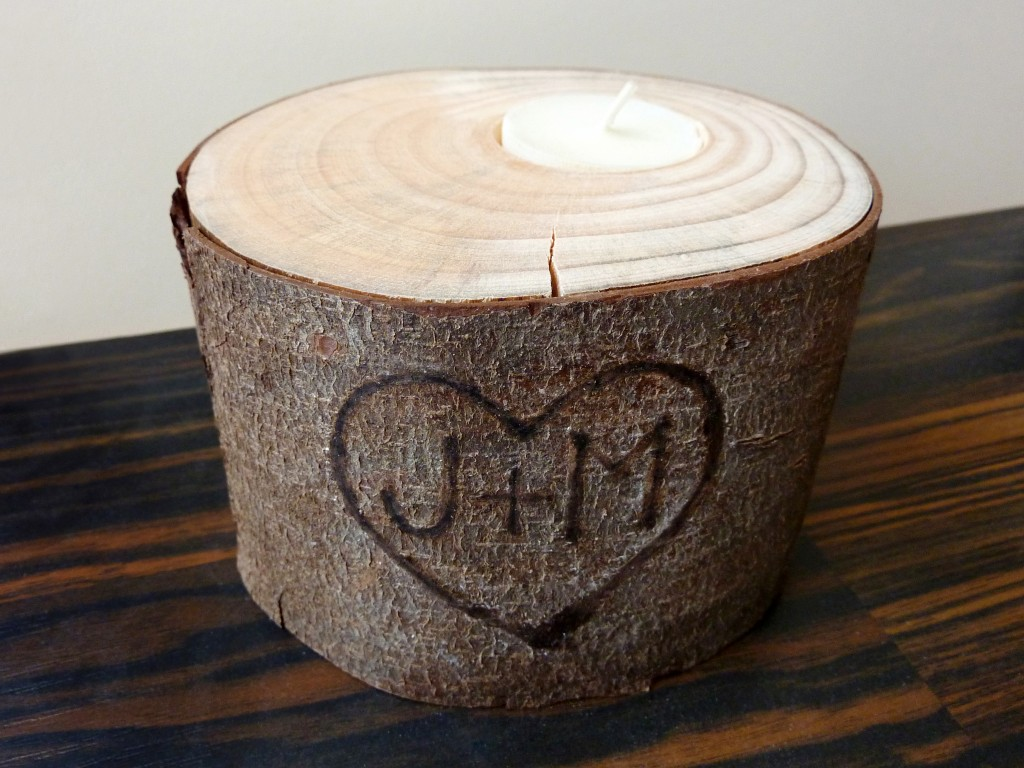 Log slice candle holder
