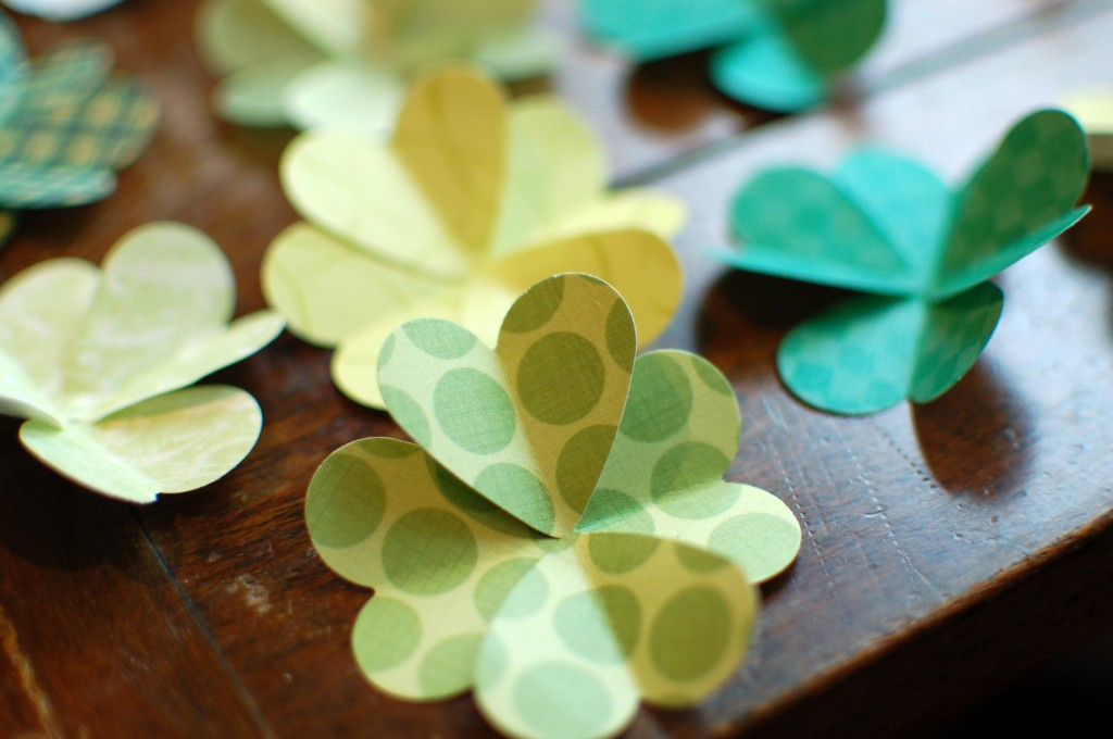 Paper shamrock from hearts