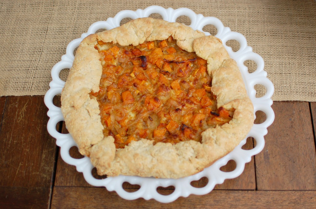 Caramelized onion and butternut squash galette