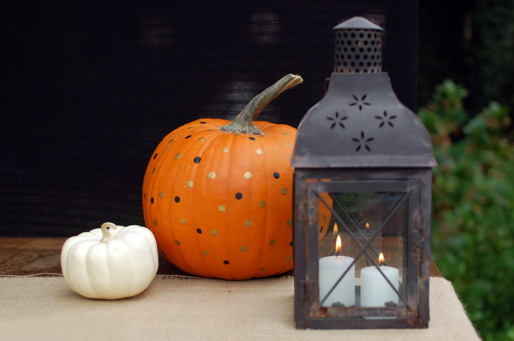 Lantern and pumpkins