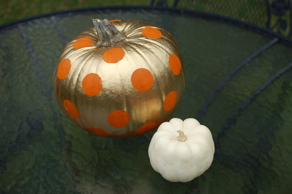 Polka dot and white pumpkins