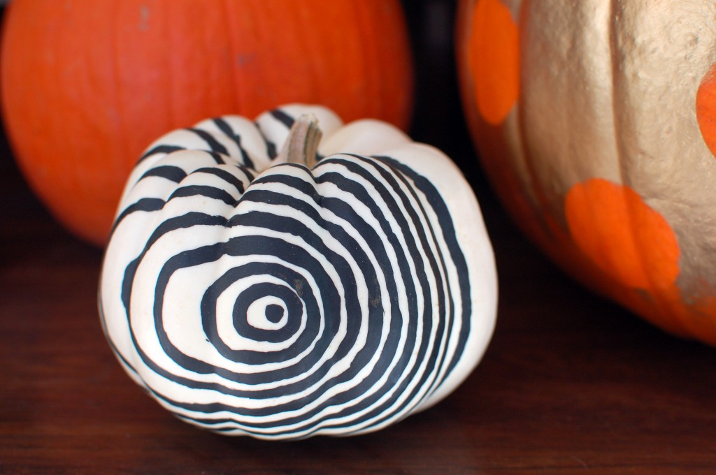 Spiral painted pumpkin