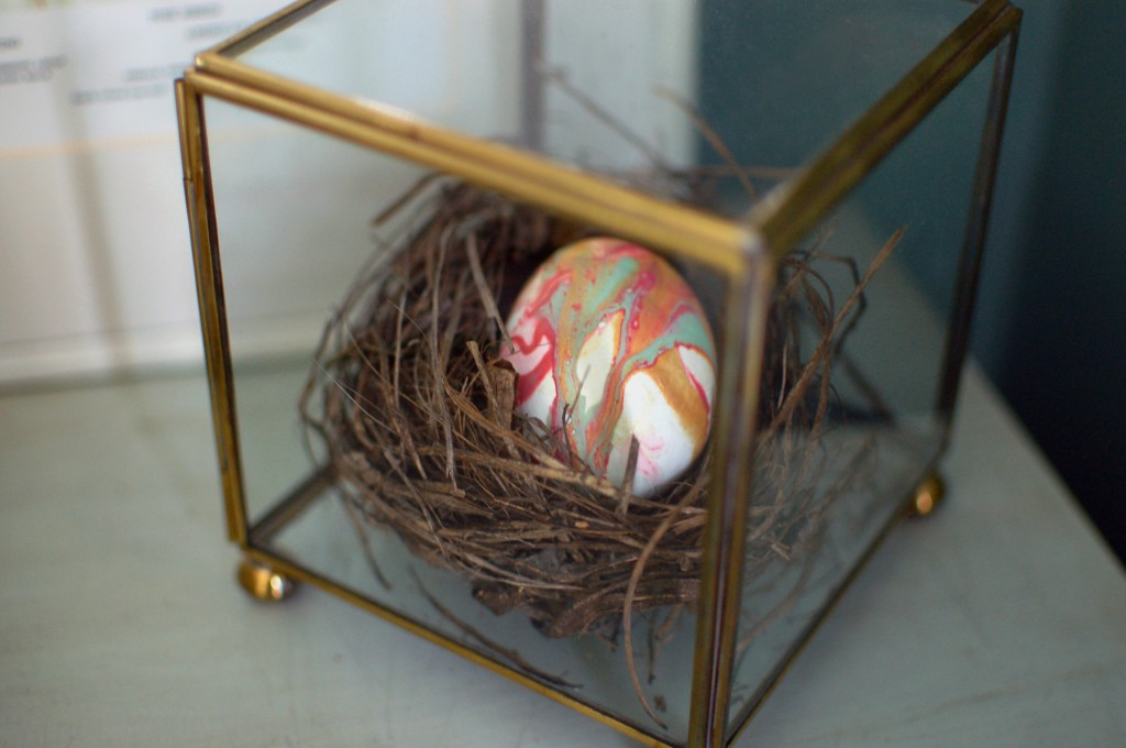 Nail polish egg in nest