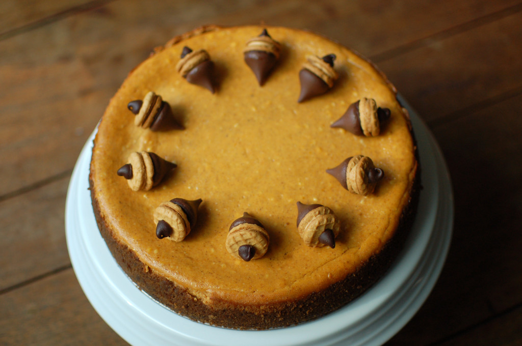 Pumpkin cheesecake with acorn decorations
