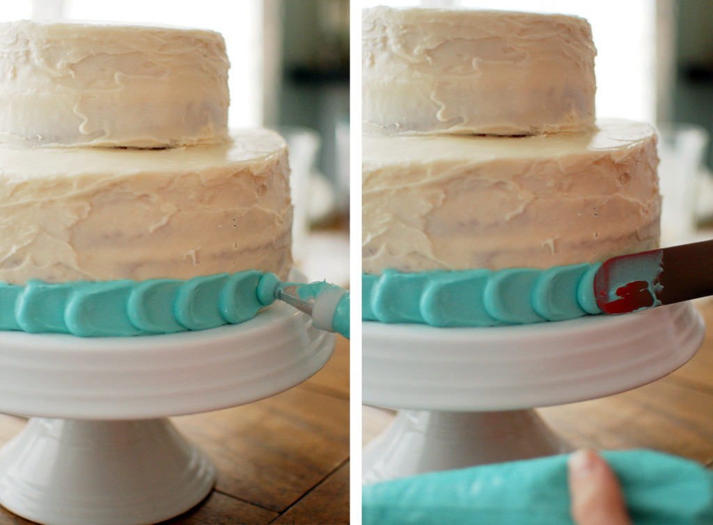 Frosting a petal cake