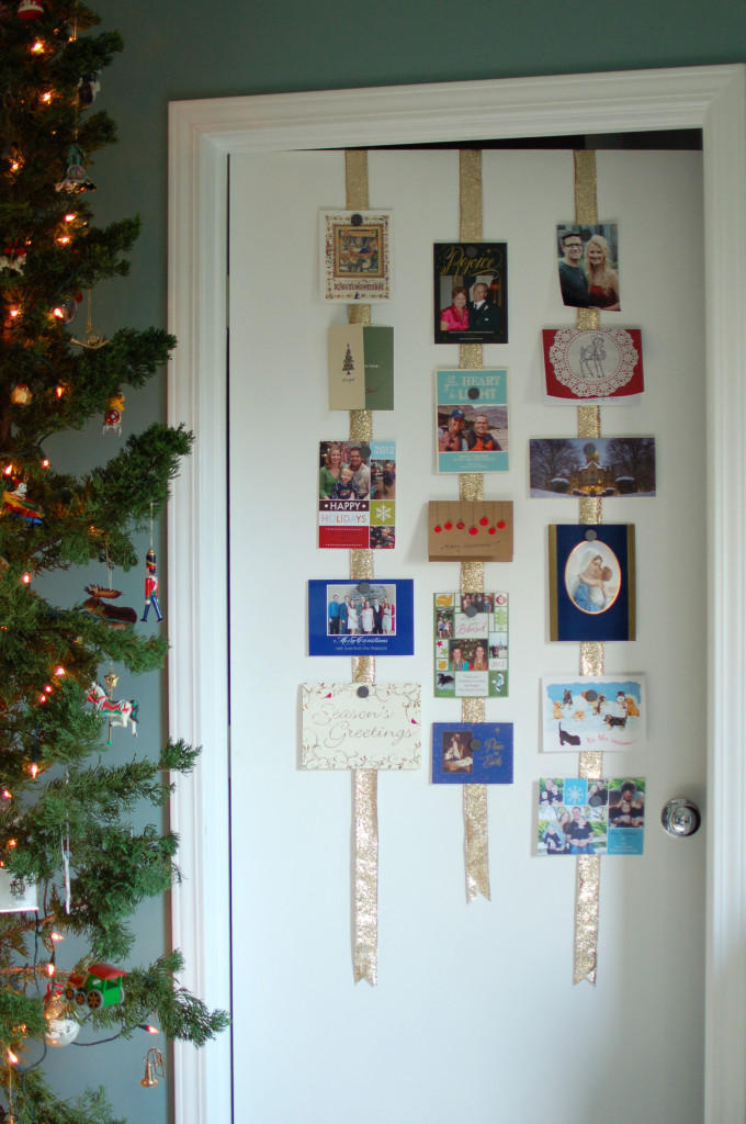 Hanging ribbons for Christmas cards