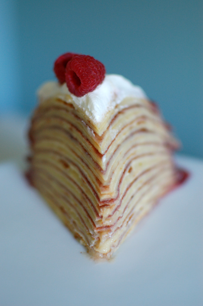 Slice of Raspberry Crepe Cake