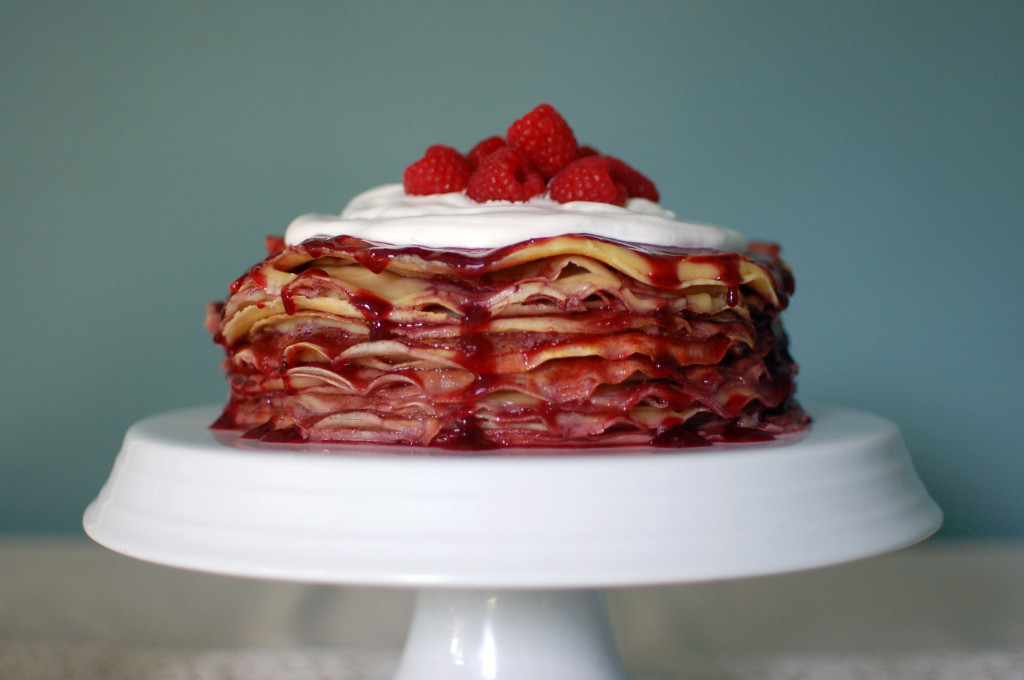 Raspberry and Custard Crepe Cake