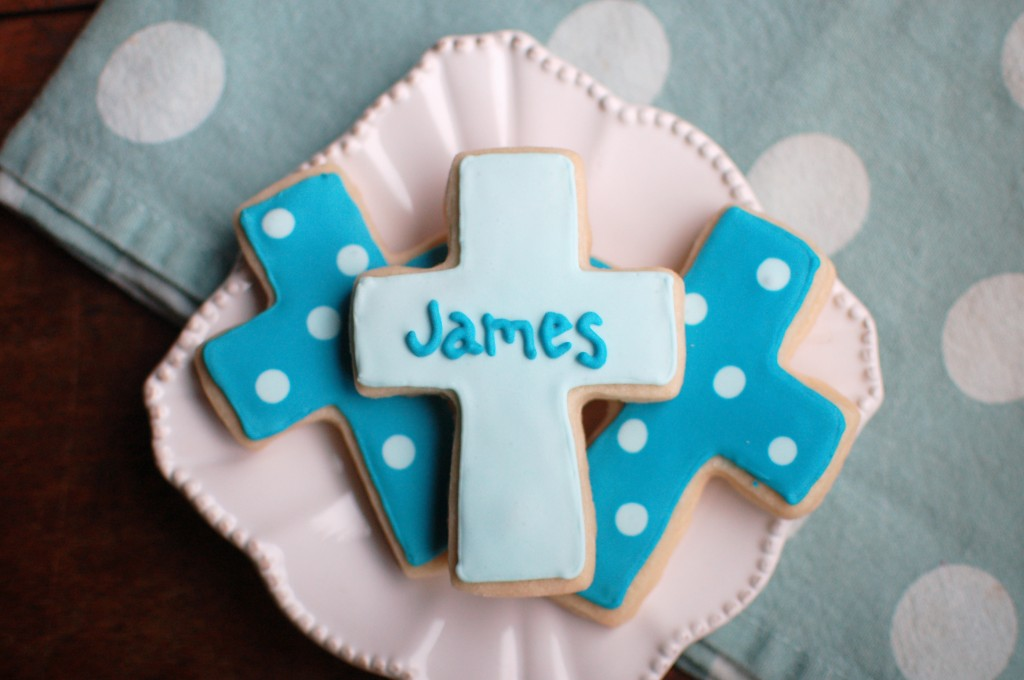 Cross Cookies for a Boy Baptism