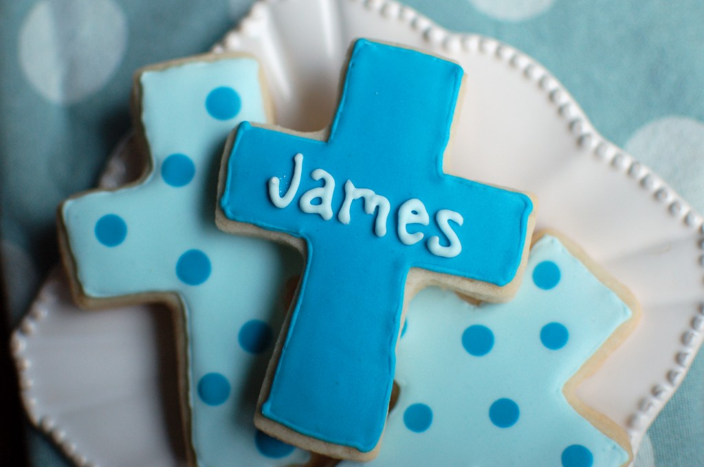 Baptism Cross Cookies with Names