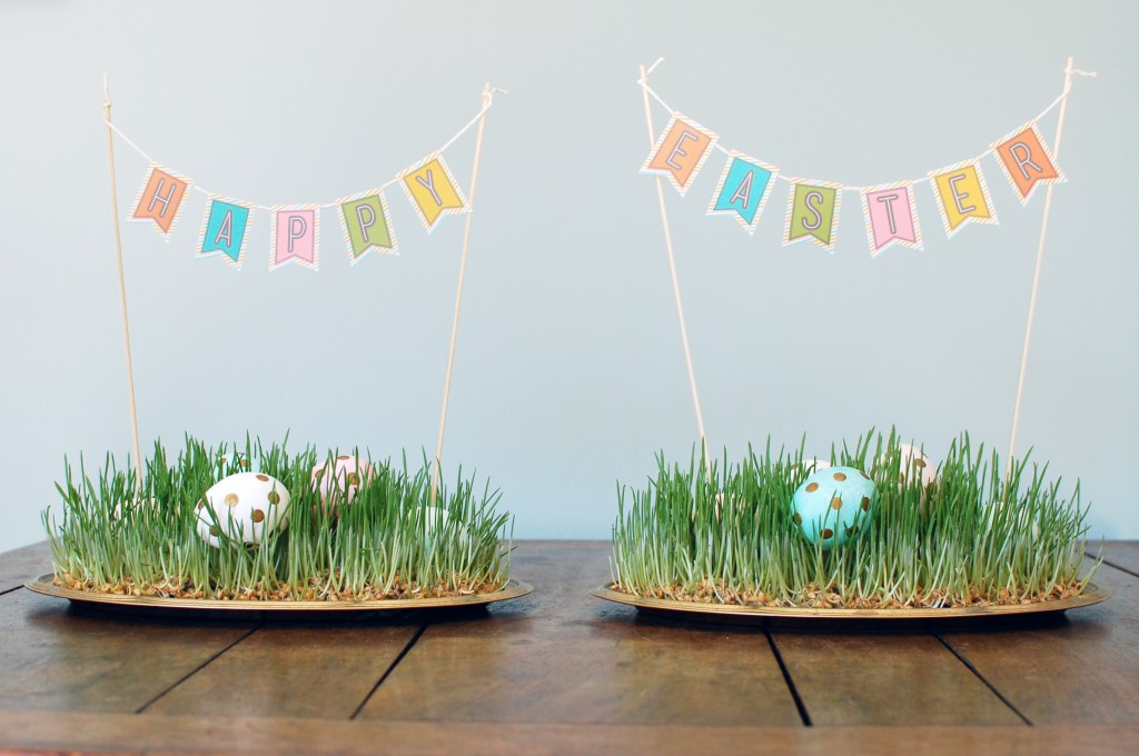 Wheatgrass Easter Centerpieces