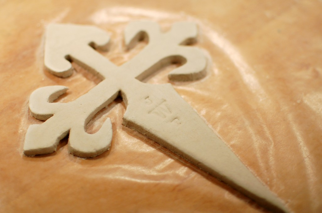 Monogram stamped cross