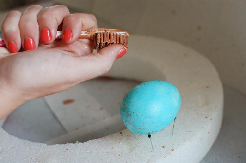 Adding gold flecks to Easter eggs