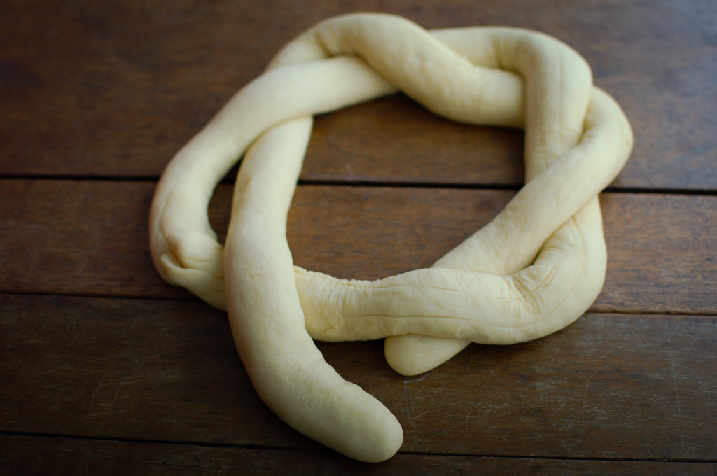 Making a bread wreath