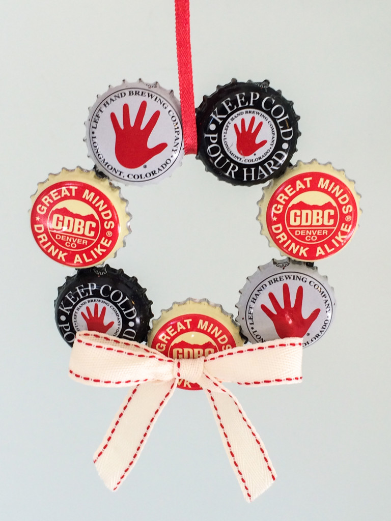 Bottle cap wreath ornament