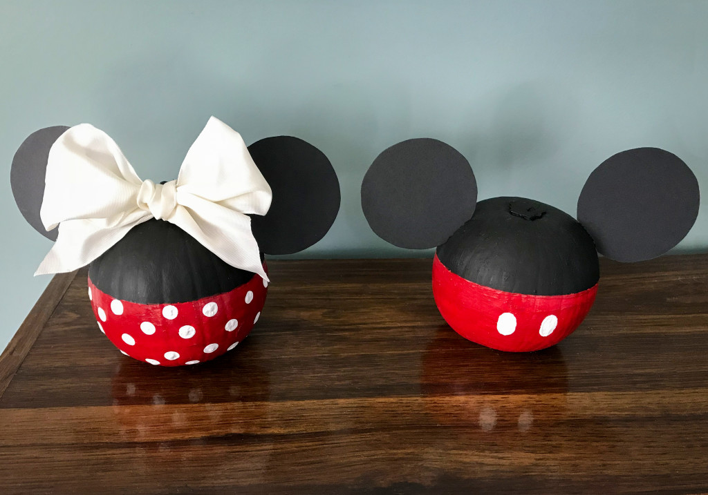 Minnie and Mickey Mouse painted pumpkin